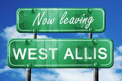 Leaving west allis, green vintage road sign with rough lettering - stock illustration