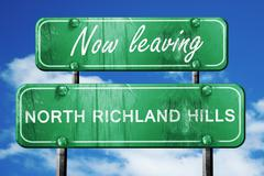 Leaving north richland hills, green vintage road sign with rough - stock illustration