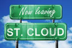 Stock Illustration of Leaving st. cloud, green vintage road sign with rough lettering