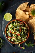 Raw Homemade Cucumber Pico De Gallo Salsa Stock Photos