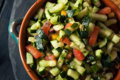 Raw Homemade Cucumber Pico De Gallo Salsa - stock photo