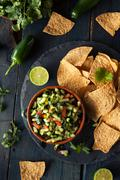 Raw Homemade Cucumber Pico De Gallo Salsa - stock photo