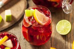 Homemade Fruity Spanish Red Sangria - stock photo