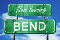 Leaving bend, green vintage road sign with rough lettering - stock illustration
