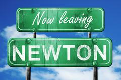 Leaving newton, green vintage road sign with rough lettering Stock Illustration