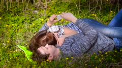 Man and woman doing selfie Stock Footage