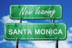Stock Illustration of Leaving santa monica, green vintage road sign with rough letteri