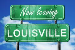 Leaving louisville, green vintage road sign with rough lettering - stock illustration