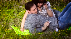 A loving couple makes selfie with your phone Stock Footage