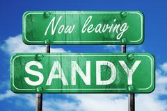 Leaving sandy, green vintage road sign with rough lettering Stock Illustration