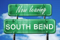 Leaving south bend, green vintage road sign with rough lettering - stock illustration