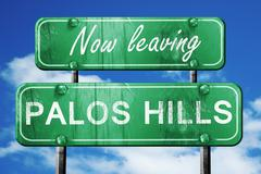 Leaving palos hills, green vintage road sign with rough letterin - stock illustration