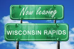 Leaving wisconsin rapids, green vintage road sign with rough let - stock illustration