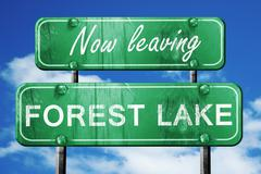 Leaving forest lake, green vintage road sign with rough letterin - stock illustration