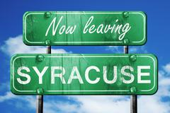 Leaving syracuse, green vintage road sign with rough lettering - stock illustration