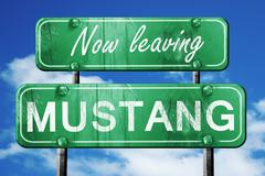 Leaving mustang, green vintage road sign with rough lettering - stock illustration