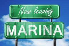 Leaving marina, green vintage road sign with rough lettering - stock illustration