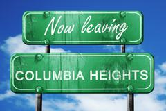 Leaving columbia heights, green vintage road sign with rough let Stock Illustration