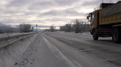 Russia, Petropavlovsk-Kamchatsky, Southern Koryak, December 8, 2015 Highway in - stock footage