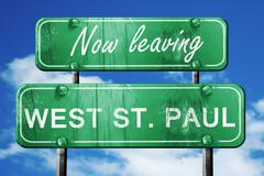 Leaving west st. paul, green vintage road sign with rough letter - stock illustration