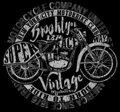 Motorcycle label t-shirt design with illustration of custom chopper Stock Illustration