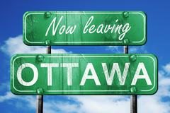 Leaving ottawa, green vintage road sign with rough lettering Piirros