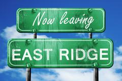 Leaving east ridge, green vintage road sign with rough lettering - stock illustration