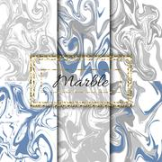 Marble texture vector set. Hand drawn ink marble - stock illustration