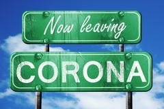 Leaving corona, green vintage road sign with rough lettering - stock illustration