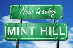 Leaving mint hill, green vintage road sign with rough lettering - stock illustration