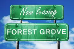 Leaving forest grove, green vintage road sign with rough letteri - stock illustration