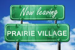Leaving prairie village, green vintage road sign with rough lett - stock illustration