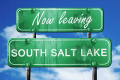 Leaving south salt lake, green vintage road sign with rough lett - stock illustration