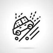 Ride on dirt road black line vector icon Stock Illustration