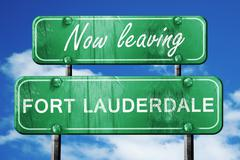 Leaving fort lauderdale, green vintage road sign with rough lett Stock Illustration