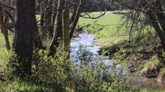 Creek Flowing Under Fence Stock Footage