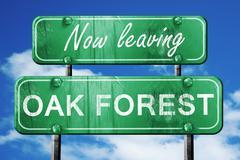 Leaving oak forest, green vintage road sign with rough lettering - stock illustration