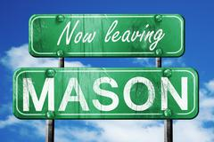 Leaving mason, green vintage road sign with rough lettering - stock illustration