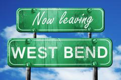 Leaving west bend, green vintage road sign with rough lettering - stock illustration