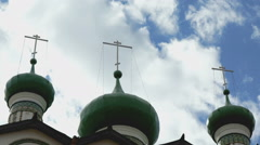 Dark green domes with crosses of the monastery Stock Footage