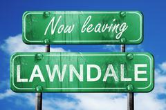 Leaving lawndale, green vintage road sign with rough lettering Stock Illustration