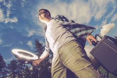 Mobile Flashlight Strobelight Photography Funny Concept. Stock Photos