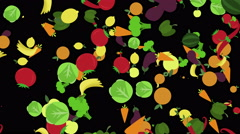 Cartoon healthy food background. fruits and vegetables flying over black backgro - stock footage