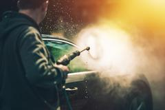 Powerful High Water Pressure Car Washing at Home. Car Cleaning. Stock Photos