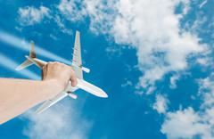 The Dream of Flight. Air Travel Idea Photo Concept with Airliner Airplane Stock Photos