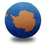 Antarctica on wooden Earth - stock illustration