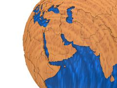 Middle East on wooden Earth - stock illustration