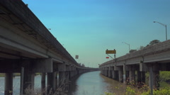 Interstate 10 over Mobile bay seen from between lanes Stock Footage