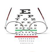 Glasses on snellen eye sight chart test Stock Photos