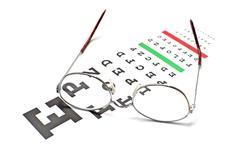 glasses on snellen eye sight chart test - stock photo